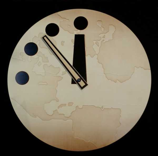 "The Bulletin of Atomic Scientist's ""Doomsday Clock"" reads seven minutes to midnight after being adjusted two minutes closer 27 February, 2002"