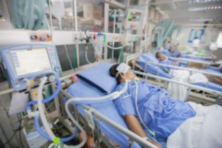 A patient in the ICU.