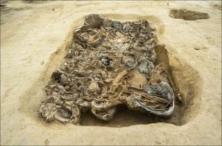 The rich assemblage of grave goods indicates that the person buried here held a high status.