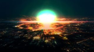 The glare of an exploded nuclear bomb rises over a city.
