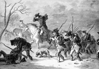 Gen. George Washington's army marches to Valley Forge, Pennsylvania in 1777.