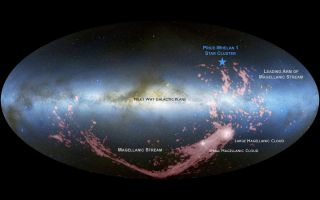 An image shows the location of the newfound stars and Magellanic Stream's locations in the sky as seen from our vantage point in the Milky Way