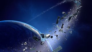 A conceptual image illustrating space debris orbiting Earth.