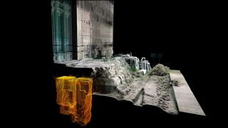 A 3D laser scan image showing the location of the tomb (in yellow) buried beneath the steps to the Curia Julia, or Senate House, in the Roman Forum.