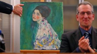 The missing Gustav Klimt painting 'Portrait of a Lady' is displayed after being stolen 23 years ago.