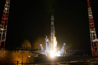 A Russian Soyuz 2.1v rocket launches a classified military satellite into orbit from the Plesetsk Cosmodrome in northern Russian on Nov. 25, 2019. The satellite can apparently track other satellites in orbit.