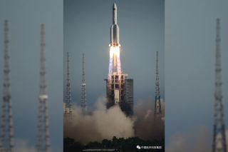 A Chinese Aerospace Corporation image shows the Long March 5b's launch from Wenchang launch center May 5.