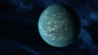 An artist's depiction of a super-Earth exoplanet.
