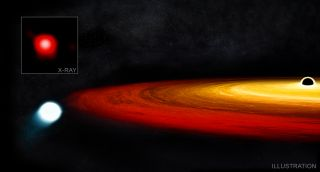 An artist's depiction of a star brushing past a black hole.