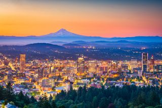 An image of Portland's skyline with Mt. Hood in the background