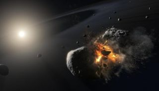 An illustration of two asteroids colliding
