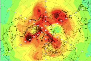 Ozone-rich air (red) floods the atmosphere over the North Pole on April 23, closing the <span id=