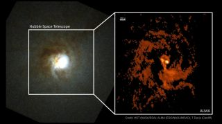 On the left is Mirach's Ghost as seen by the Hubble Space Telescope. On the right, Atacama Large Millimeter/submillimeter Array (ALMA) data reveals unprecedented detail of swirling gas in the same region.
