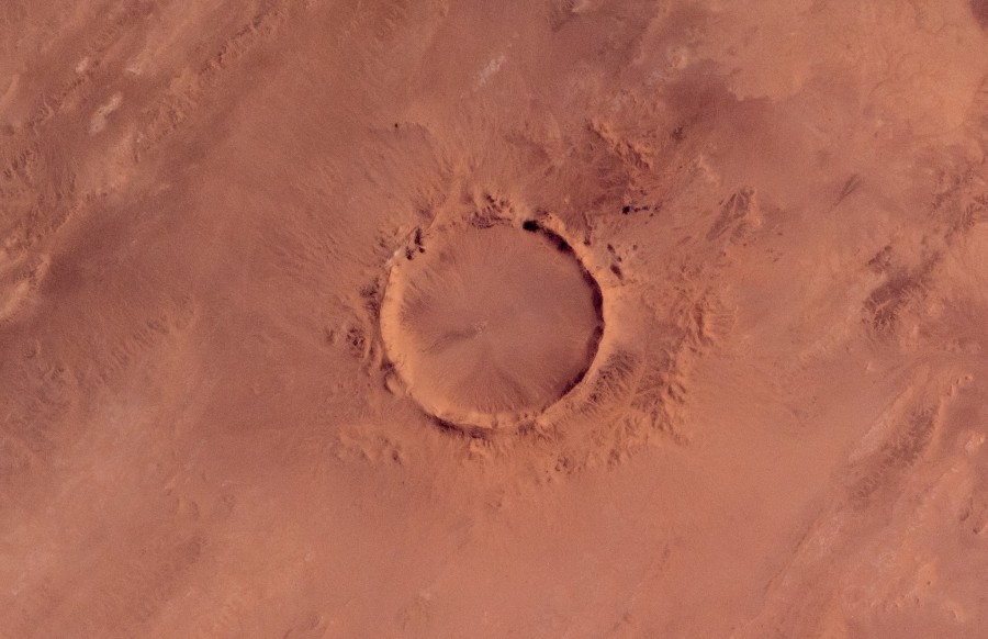 Gas Orbiter: martian crater in the lens